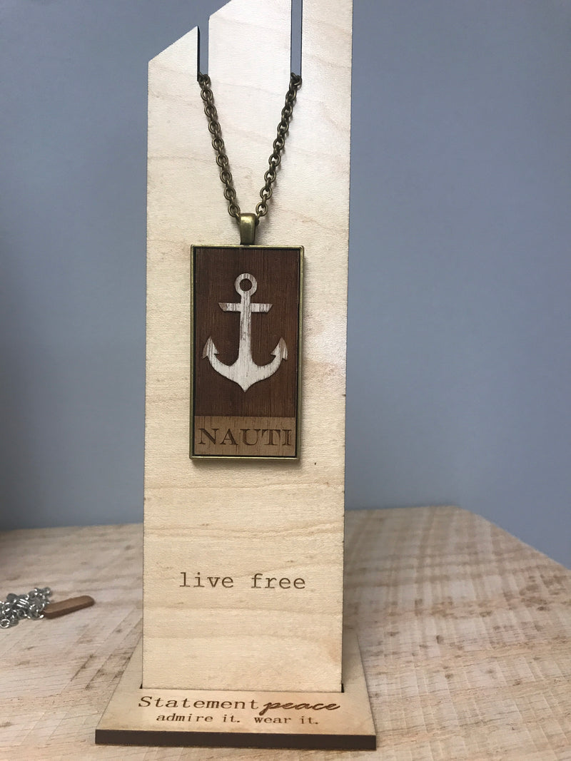 Nauti Anchor Statement Peace Necklace