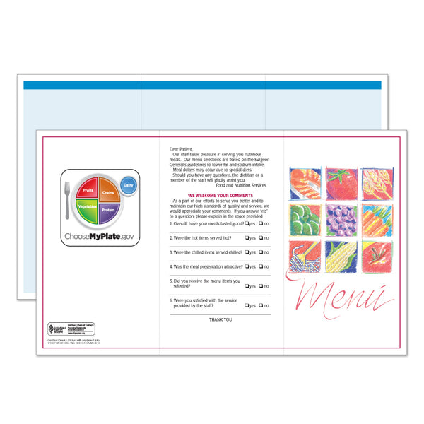 Market Medley Blue Blank Menus - Pack of 500