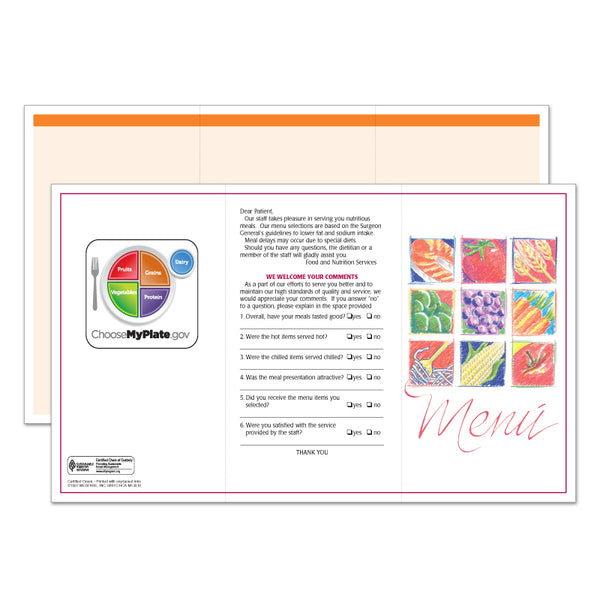 Market Medley Orange Blank Menus - Pack of 500
