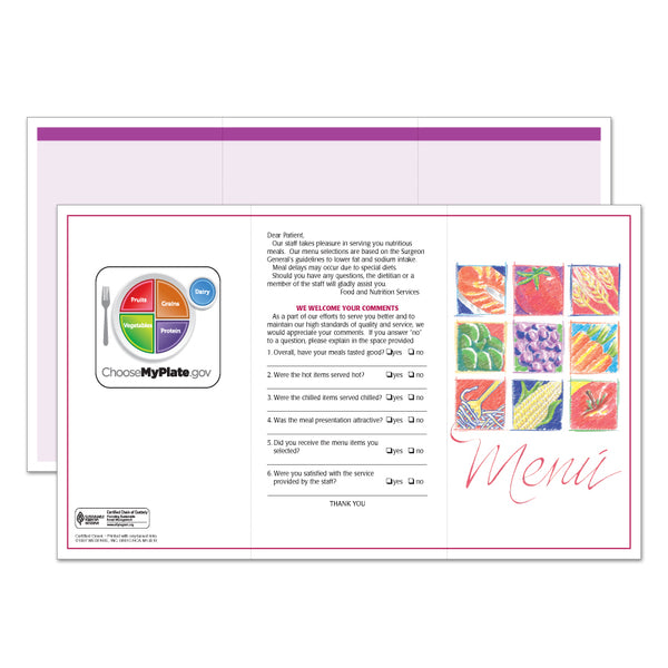 Market Medley Purple Blank Menus - Pack of 500