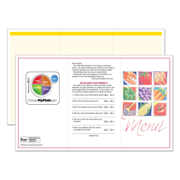 Market Medley Yellow Blank Menus - Pack of 500