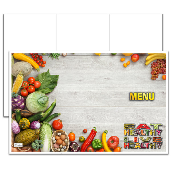 "Eat Healthy 11"" x 17"" Blank Menu Jackets - Pack of 250"
