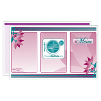 "Purple Fleur Graphique 14"" Menus - Pack of 500"