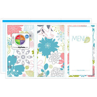 Blue Floral Menus - Pack of 500