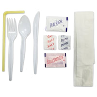 Cutlery Kit with Napkin, Flex Straw, and Condiments with Cutlery - Case of 250