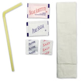 Pouch Kit with Napkin, Flex Straw, and Condiments  - Case of 250
