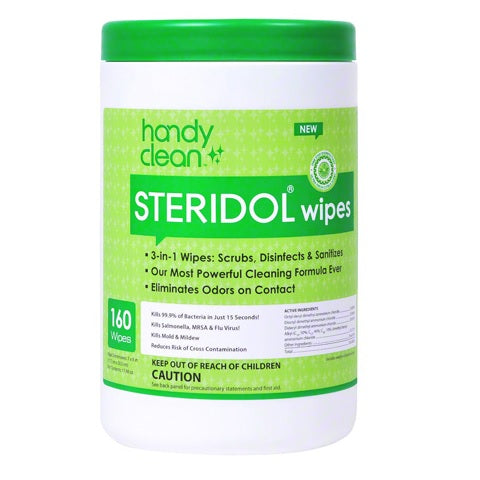 Handyclean Steridol Wipes Canisters - Case of 6 canisters with 160 ct per canister