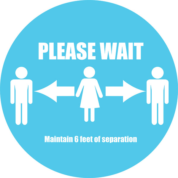 """Please Wait"" Floor Decals 15"" (pack of 10)"