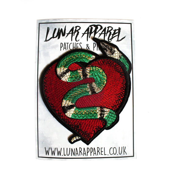 Snake Heart Patch (Iron on) - Lunar Apparel - Alternative Pop-Punk Clothing