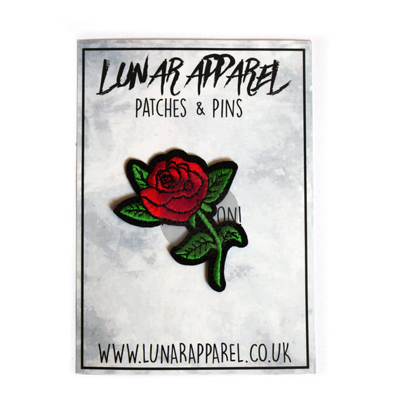 Small Red Rose Patch (Iron On) - Lunar Apparel - Alternative Pop-Punk Clothing