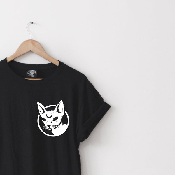 Cat Long-Line Tee - Lunar Apparel - Alternative Pop-Punk Clothing