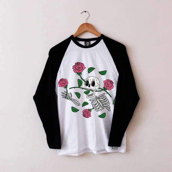 Pushing Roses Baseball Tee - Lunar Apparel - Alternative Pop-Punk Clothing