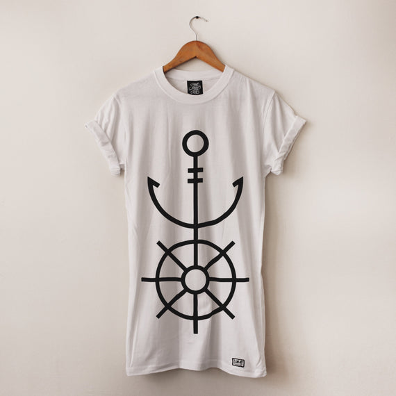 Anchor & Wheel Long-Line Tee - Lunar Apparel - Alternative Pop-Punk Clothing
