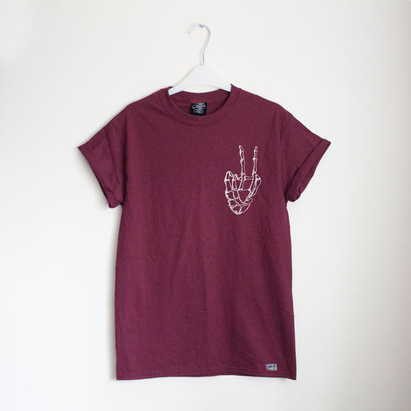 Reverse Peace Burgundy Tee - Lunar Apparel - Alternative Pop-Punk Clothing