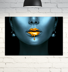 Gold Lips - Wrapped Canvas Art