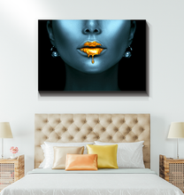 Load image into Gallery viewer, Gold Lips - Wrapped Canvas Art