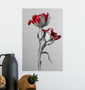 Red And Grey Tulips - Poster Art