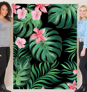 Summer Palm Leaves And Flowers - Fleece Blanket