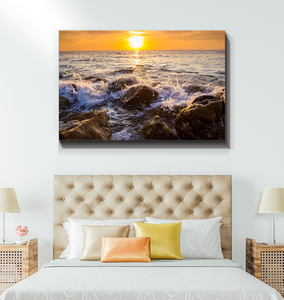 Waves Crashing On Rocks - Wrapped Canvas Art