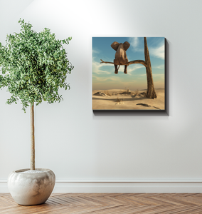Elephant Sits On Tree Branch - Wrapped Canvas Art