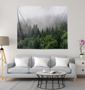 Forest Mountain Fog - Wall Tapestry