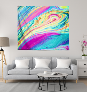 Rainbow Marble Swirls - Wall Tapestry