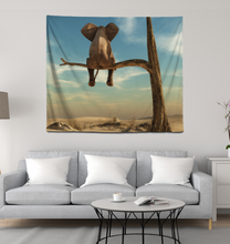 Load image into Gallery viewer, Elephant Sits On Tree Branch - Wall Tapestry