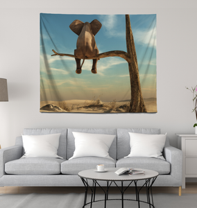 Elephant Sits On Tree Branch - Wall Tapestry