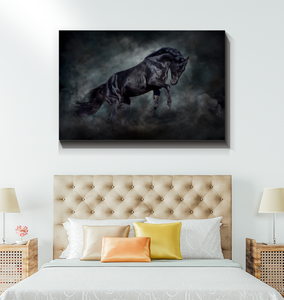 Black Stallion - Wrapped Canvas Art
