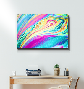 Rainbow Marble Swirls - Wrapped Canvas Art