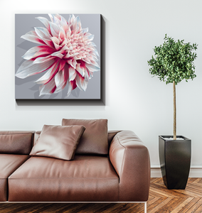 Red And White Dahlia - Wrapped Canvas Art