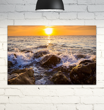 Load image into Gallery viewer, Waves Crashing On Rocks - Wrapped Canvas Art