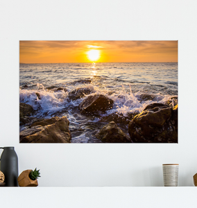 Waves Crashing On Rocks - Poster Art