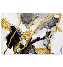 Load image into Gallery viewer, Gold Leaves And Lines - Poster Art