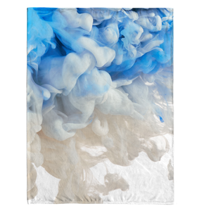 Blue And White Ink - Fleece Blanket