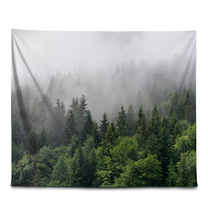 Load image into Gallery viewer, Forest Mountain Fog - Wall Tapestry
