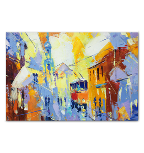 Cubism City Life - Wrapped Canvas Art
