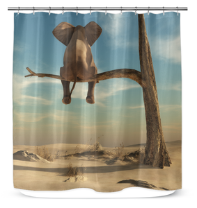Elephant Sits On Tree Branch - Shower Curtain