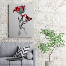 Load image into Gallery viewer, Red And Grey Tulips - Wrapped Canvas Art