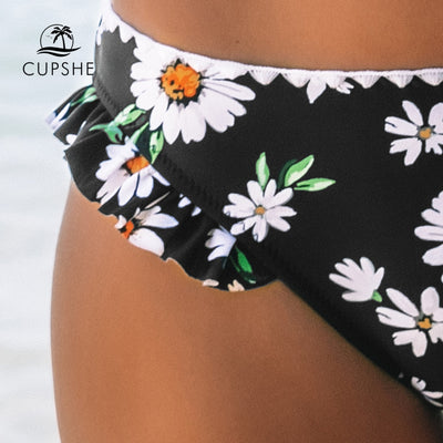 Hailey Black Sweet Daisy Ruffled Bikinig Suits