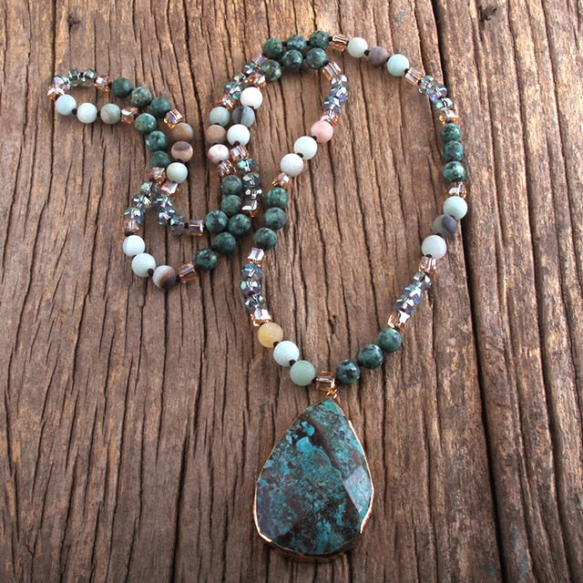 Agatha Bohemian Natural Stones With Semi Precious Pendant Necklace