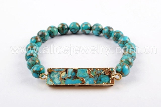 Stephanie Handmade Rectangular Turquoise Beaded Bracelet