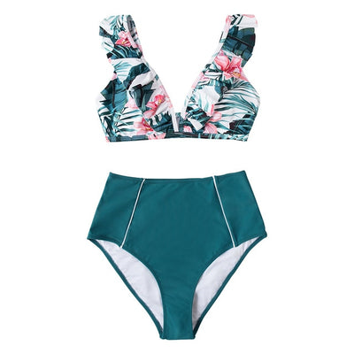 Erica High-waisted Bikini with Ruffled Top