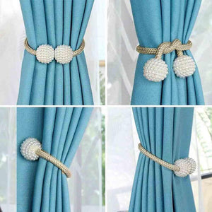 Pearl Curtain Tiebacks with Strong Magnetic Clips, 2 pcs - Bargainsfan