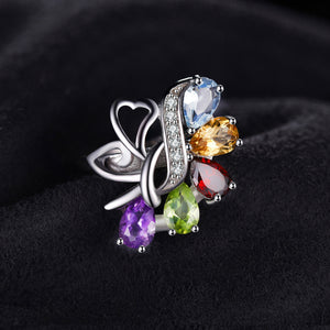 Sterling Silver Rainbow Gem Ring - Bargainsfan