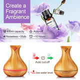 400mL Essential Oil Diffuser and Humidifier w/ Mood LED Lights - Bargainsfan