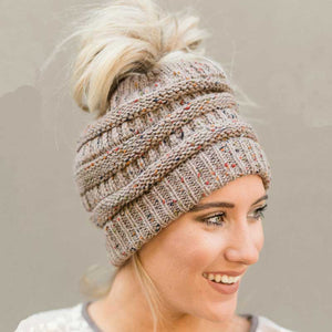 Soft Knit Beanie That's PERFECT for Ponytails & Buns - Bargainsfan
