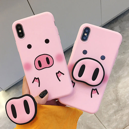 Cute Pig Nose Pop socket Phone Case - Bargainsfan