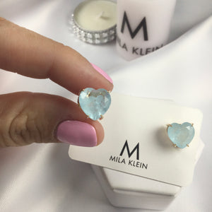 Heart Earrings Aquamarine Fusion Stone 18k Gold Plated