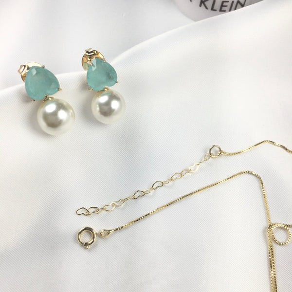 Set Delicate Heart Aquamarine and Pearls 18k Gold Plated